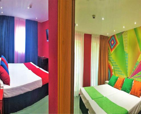 habitaciones comunicadas de colores vivos para 4 o 5 personas